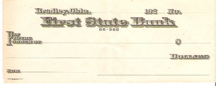 First State Bank Check